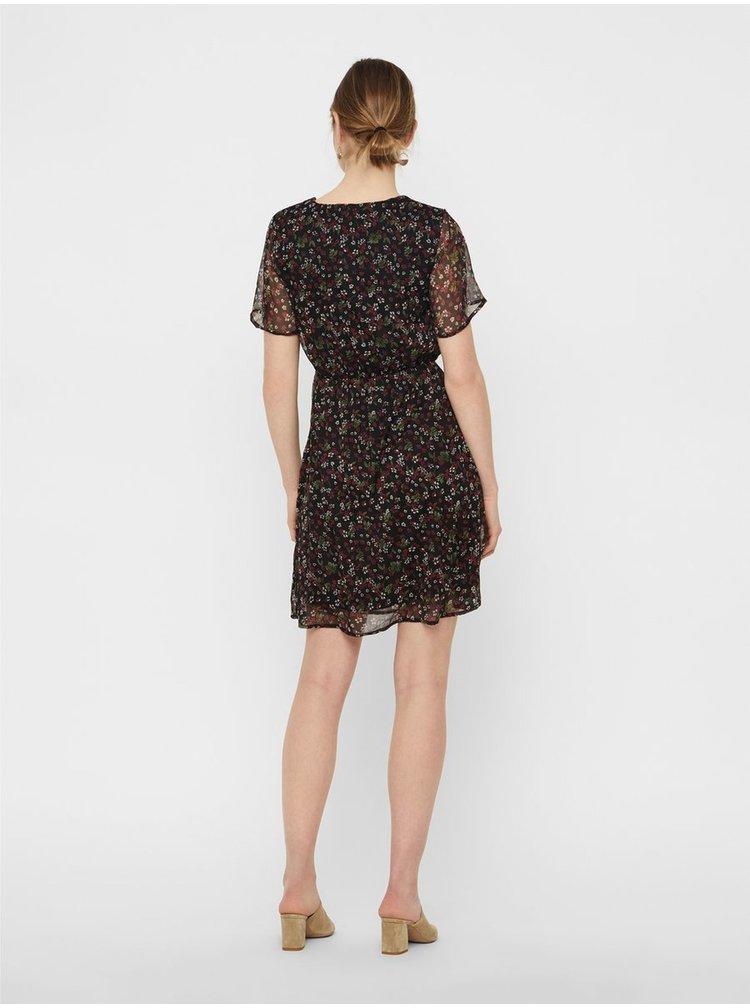 Čierne kvetované šaty VERO MODA Wonda