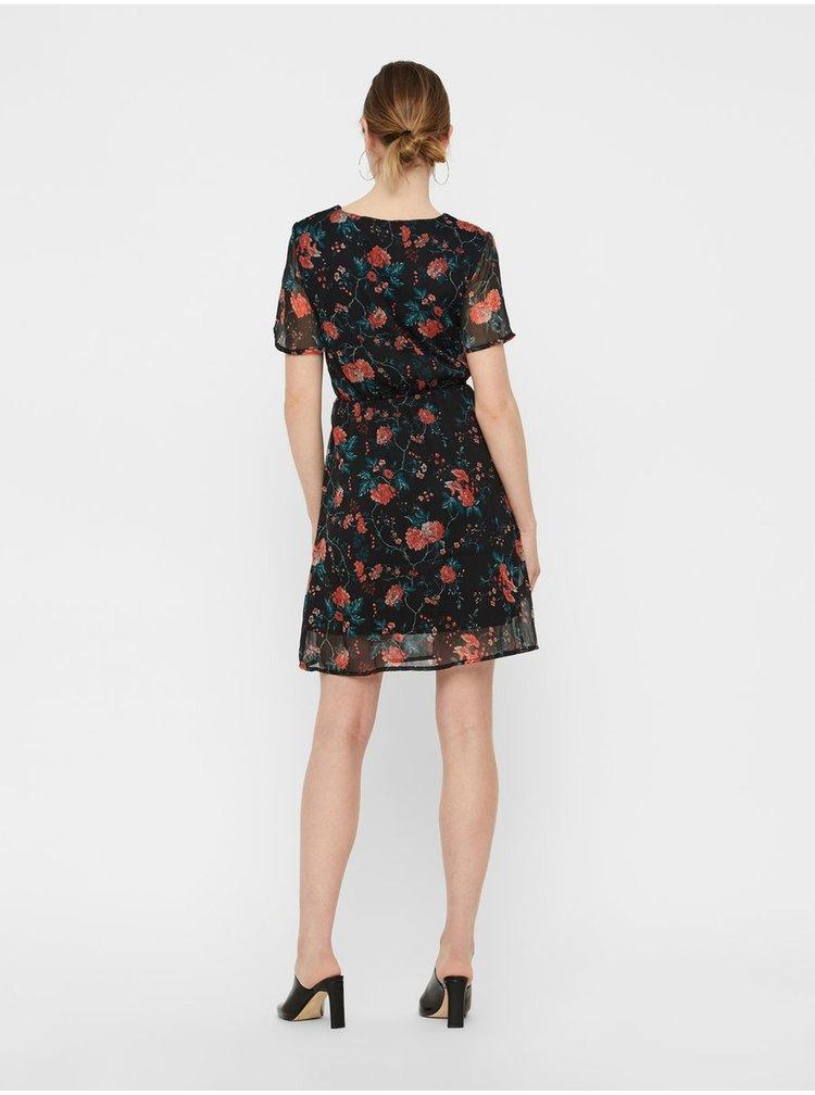 Červeno–čierne kvetované šaty VERO MODA Wonda