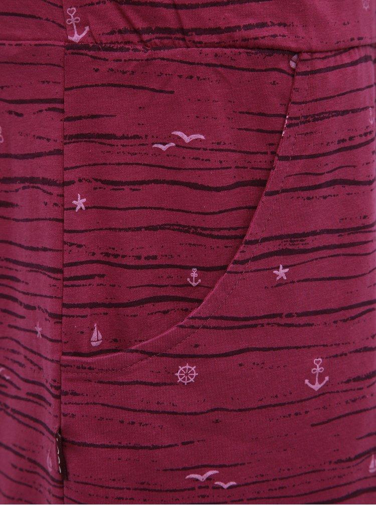 Tmavě růžové vzorované šaty na ramínka LOAP Bama