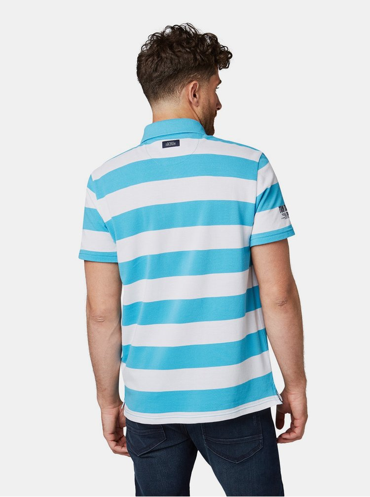 Bílo-modré pánské pruhované regular fit polo tričko Tom Tailor