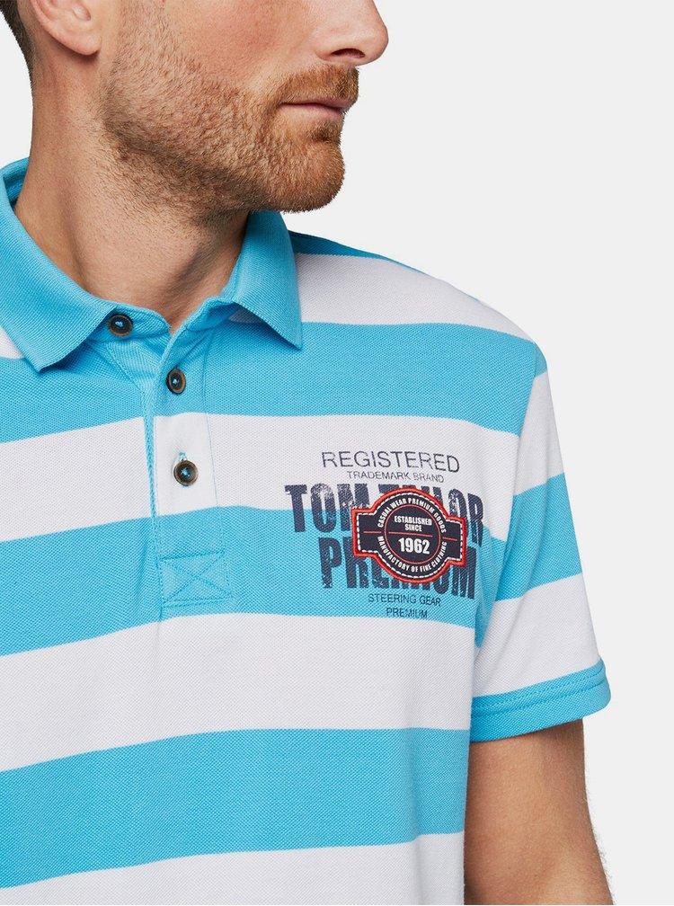 Tricouri polo pentru barbati Tom Tailor - albastru, alb