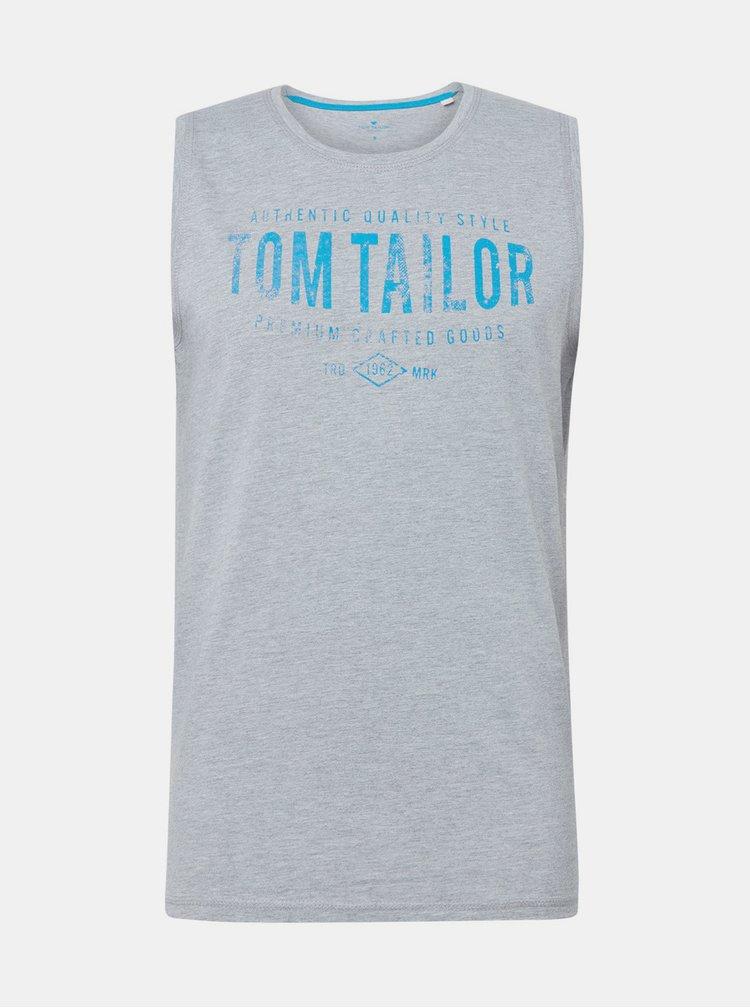 Světle šedé pánské žíhané tílko s potiskem Tom Tailor