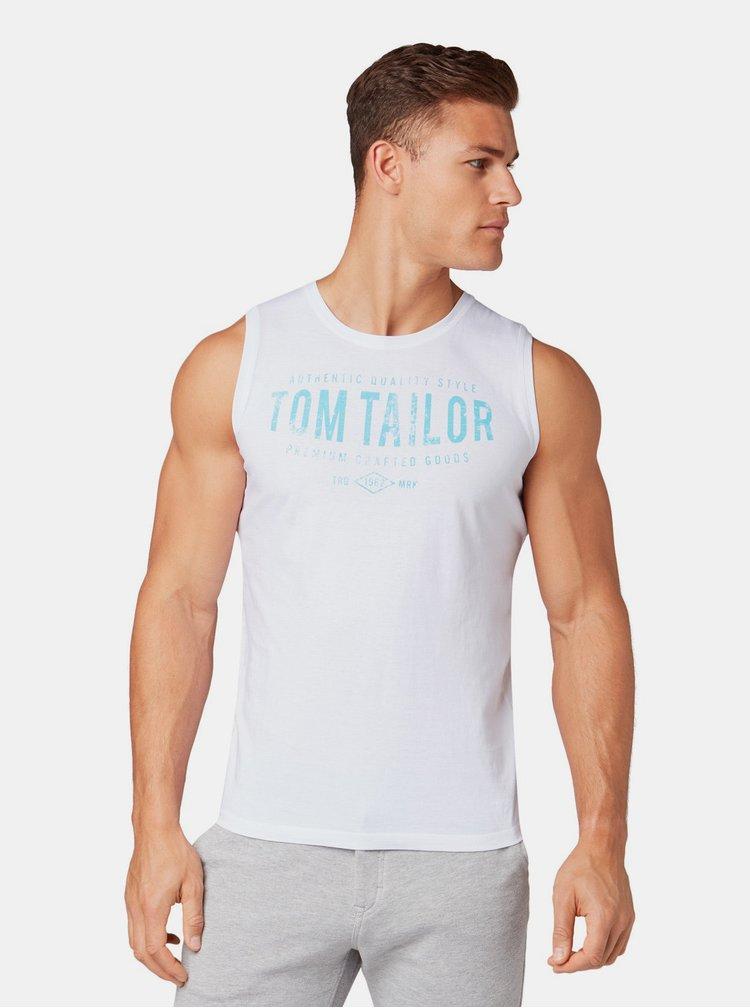 Bílé pánské tílko s potiskem Tom Tailor