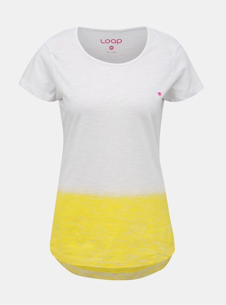 Žluto-bílé dámské tričko LOAP Blussi