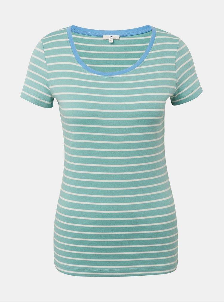 Zelené dámské pruhované basic tričko Tom Tailor