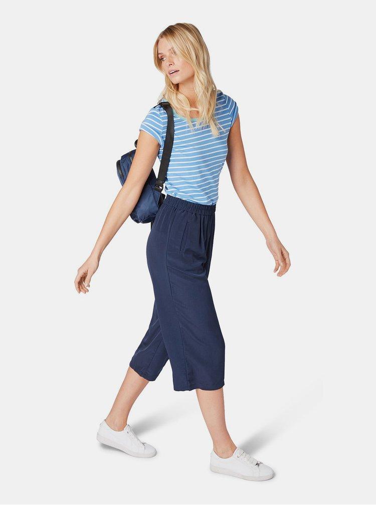 Modré dámské pruhované basic tričko Tom Tailor