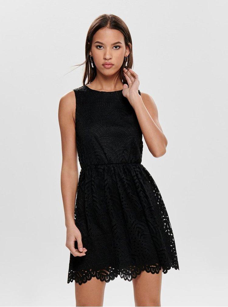 Čierne čipkované šaty ONLY Edith