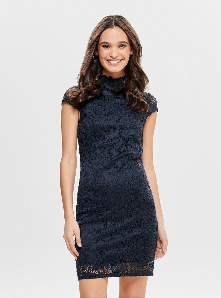 Tmavě modré krajkové šaty ONLY Alba