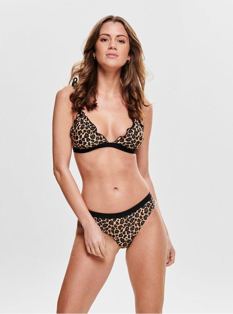 Hnědý spodní díl plavek s leopardím vzorem ONLY Ibiza