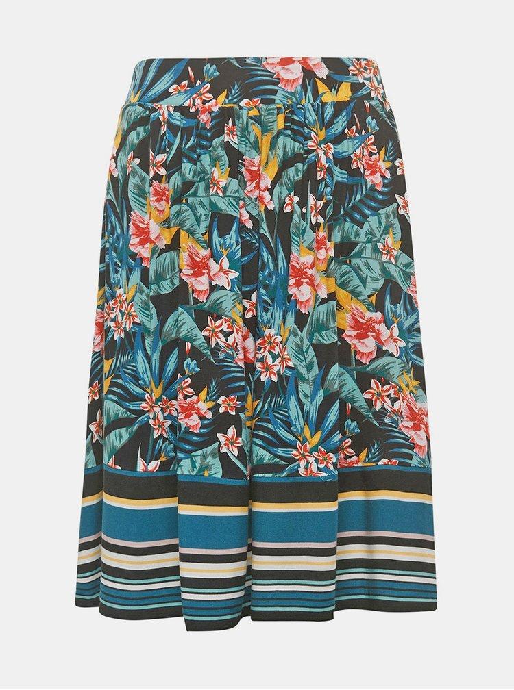 Zeleno-černá květovaná sukně Tom Tailor