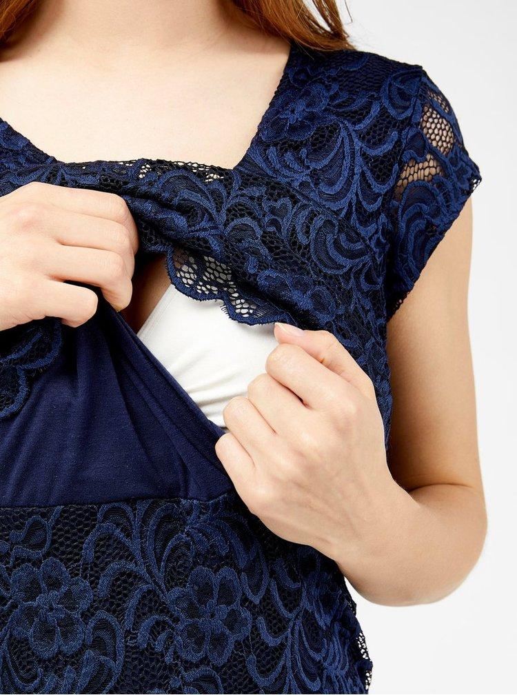 Tmavě modré krajkové těhotenské/kojicí šaty Mama.licious Mivane