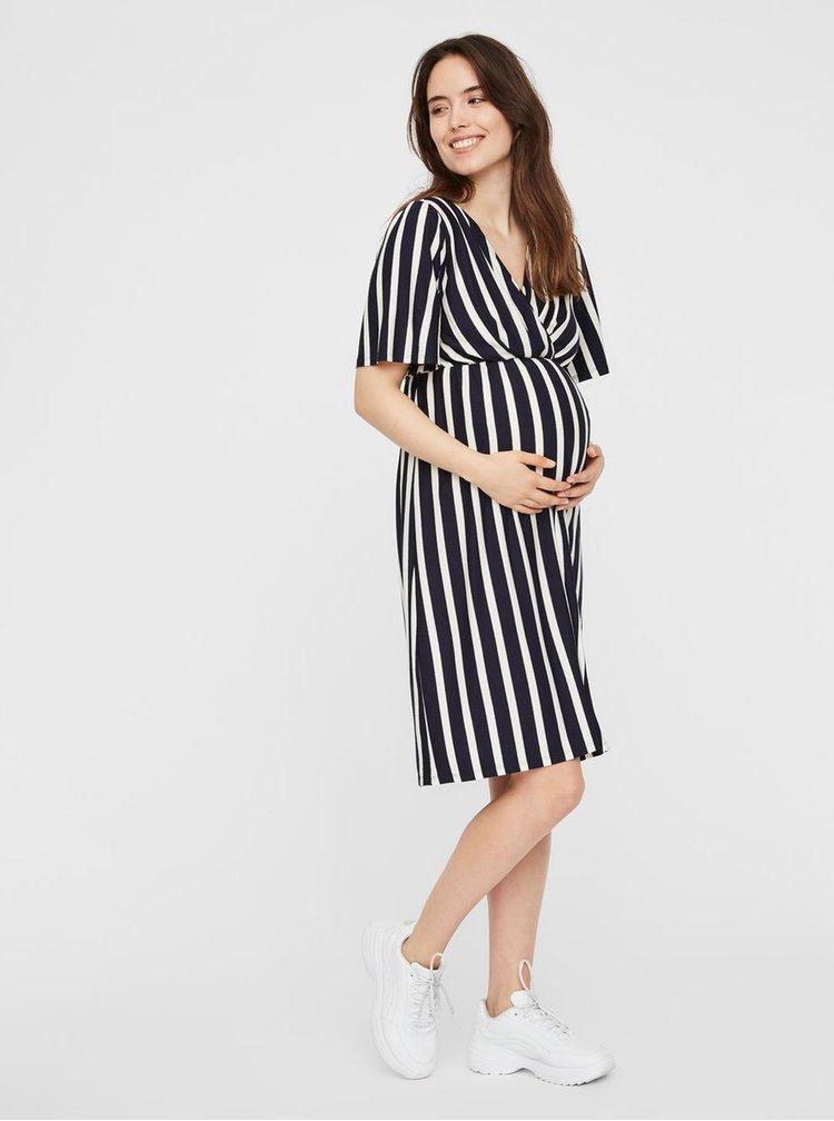 Tmavě modré pruhované těhotenské/kojicí šaty Mama.licious