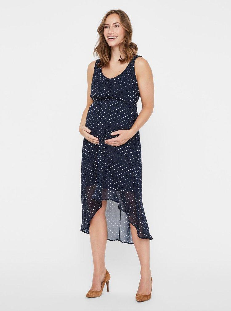 Tmavě modré puntíkované těhotenské šaty Mama.licious
