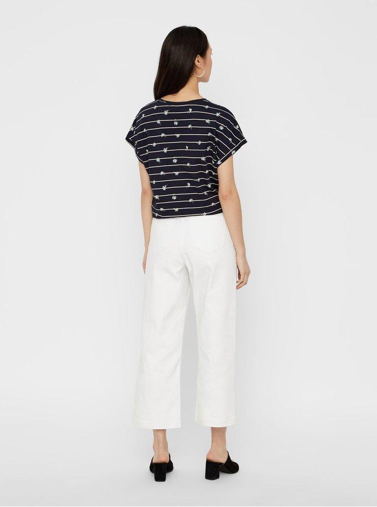 Tmavomodré vzorované tričko VERO MODA Sally Willow