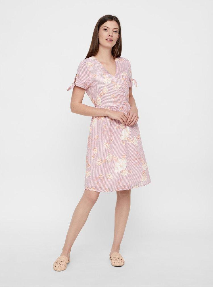 Staroružové vzorované šaty s prekladaným výstrihom VERO MODA Sally
