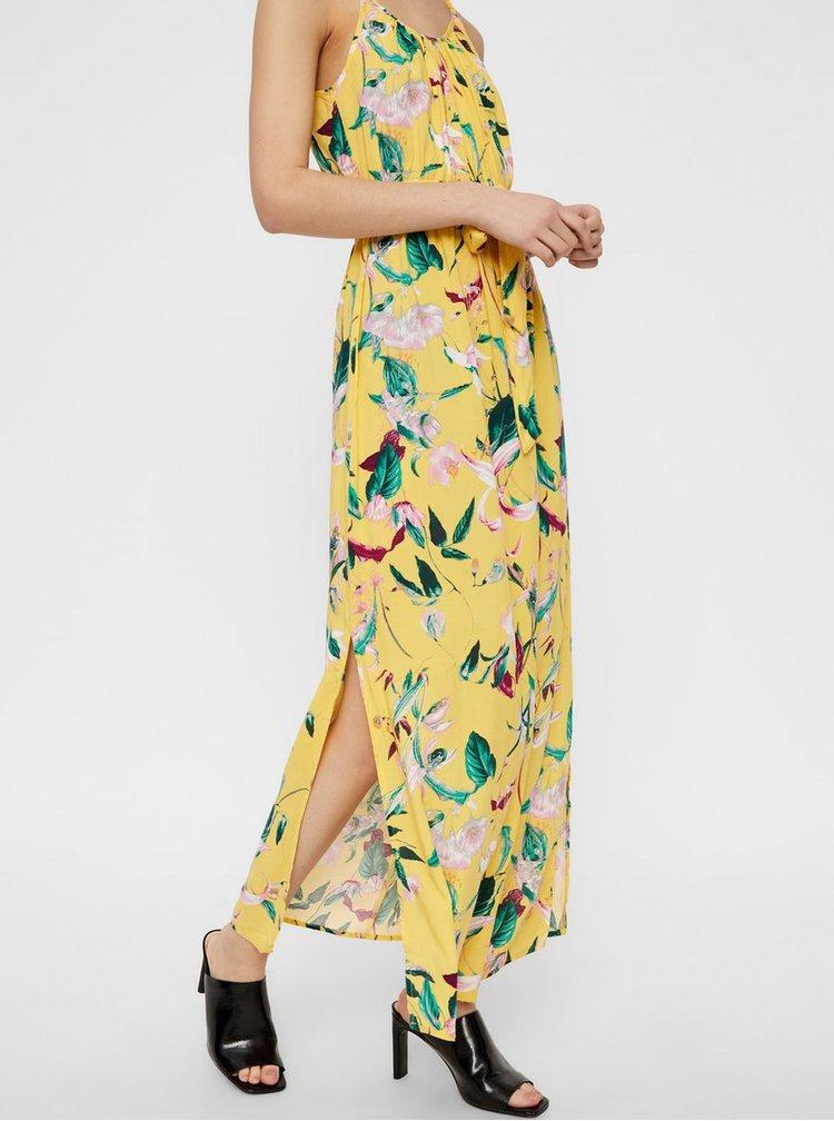 Rochie maxi galbena florala cu bretele VERO MODA Simply Easy