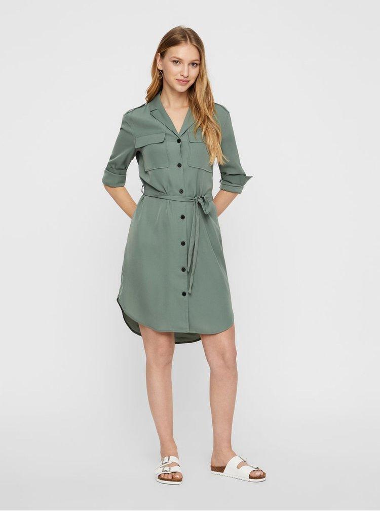 Zelené košilové šaty VERO MODA Selina