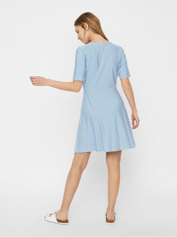 Bílo-modré pruhované šaty s překládanou sukní VERO MODA Ava