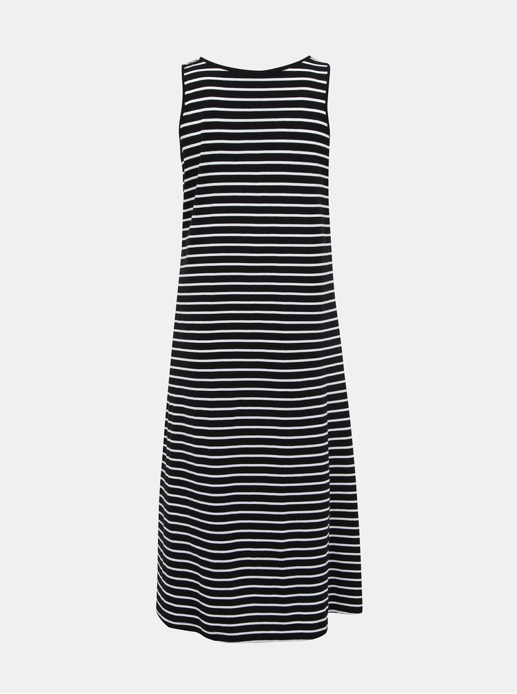 Bielo-čierne pruhované basic maxišaty Zizzi Mina