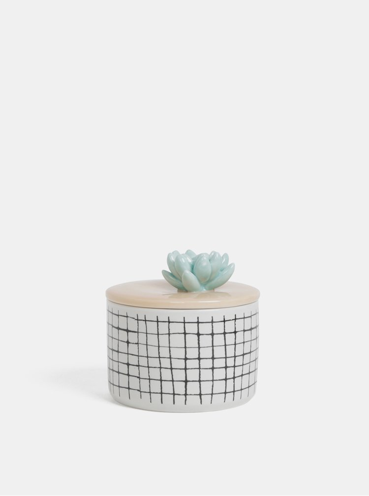 Bílá kostkovaná dóza s motivem kaktusu Disaster Urban garden