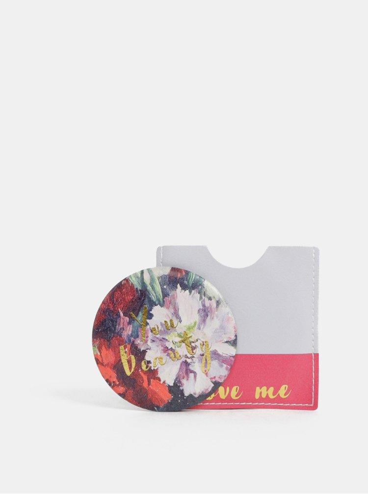 Šedo-růžové květované kompaktní zrcátko Disaster Framed You