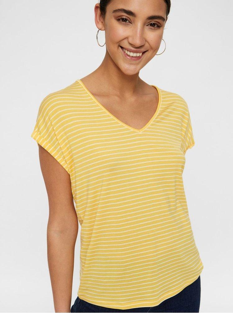 Žlté pruhované basic tričko AWARE by VERO MODA Ava