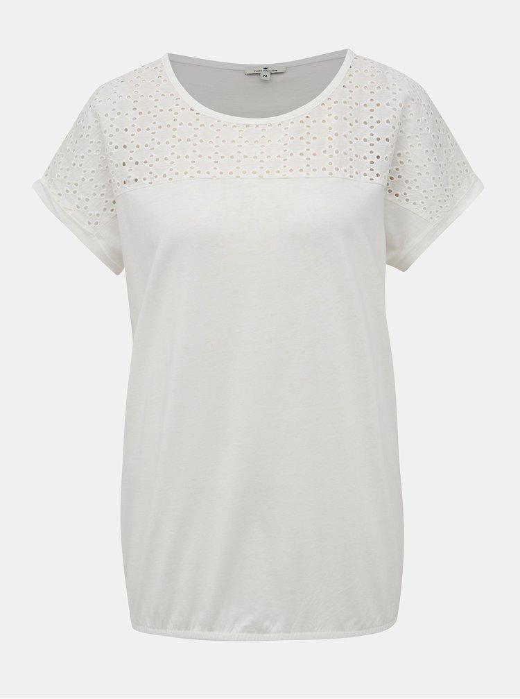 Bílé tričko s madeirou Tom Tailor