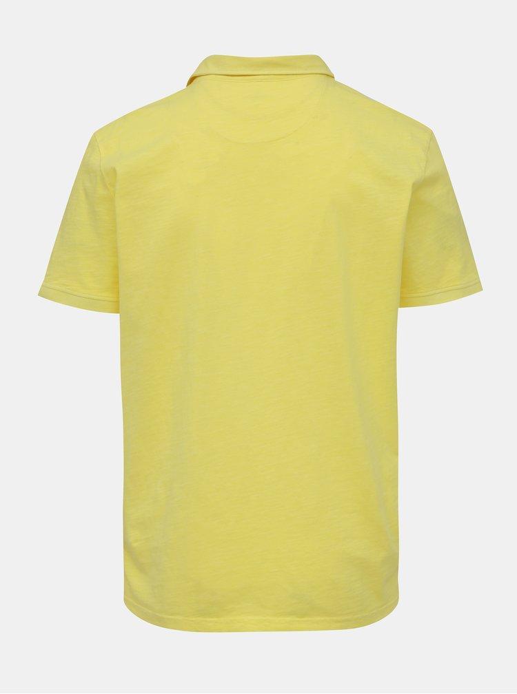 Žluté pánské basic polo tričko s kapsou Tom Tailor