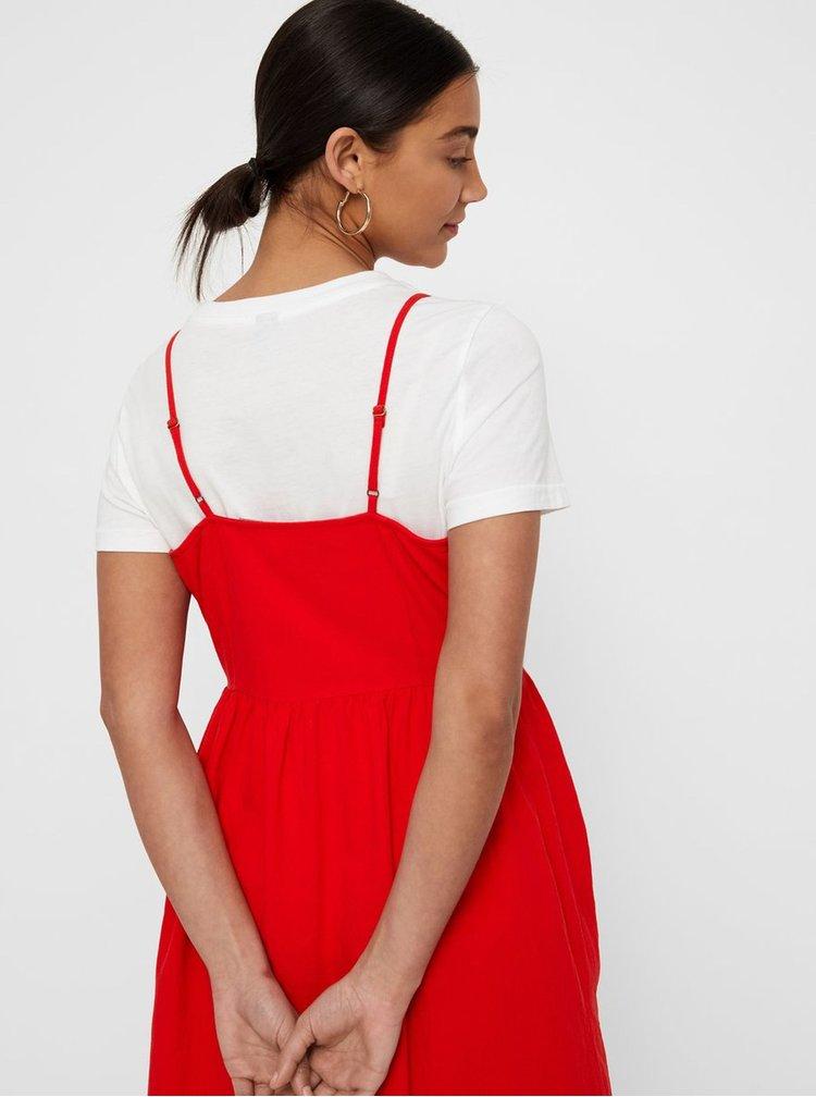 Červené midišaty na ramienka VERO MODA Wanda