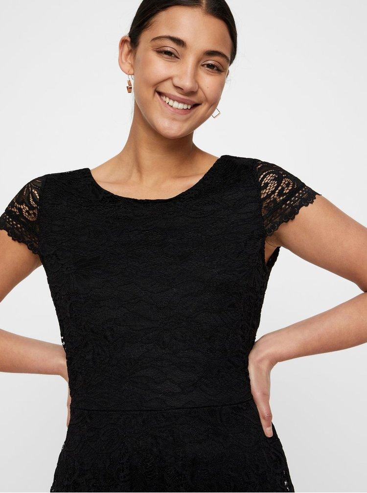 Čierne čipkované šaty VERO MODA Sassa