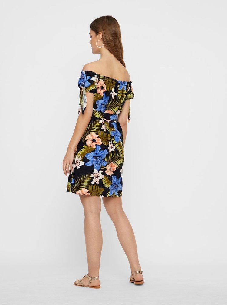 Čierne ľanové kvetované šaty s odhalenými ramenami VERO MODA Efie