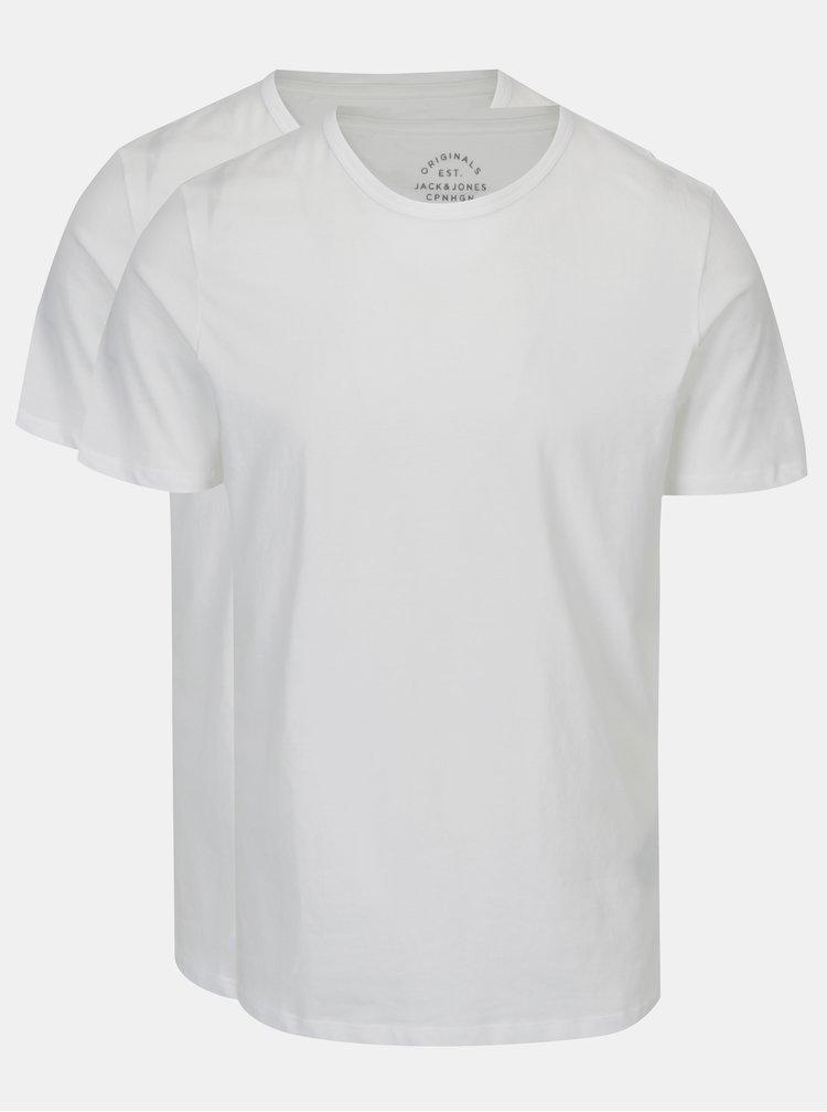 Set de 2 tricouri basic albe Jack & Jones Basic