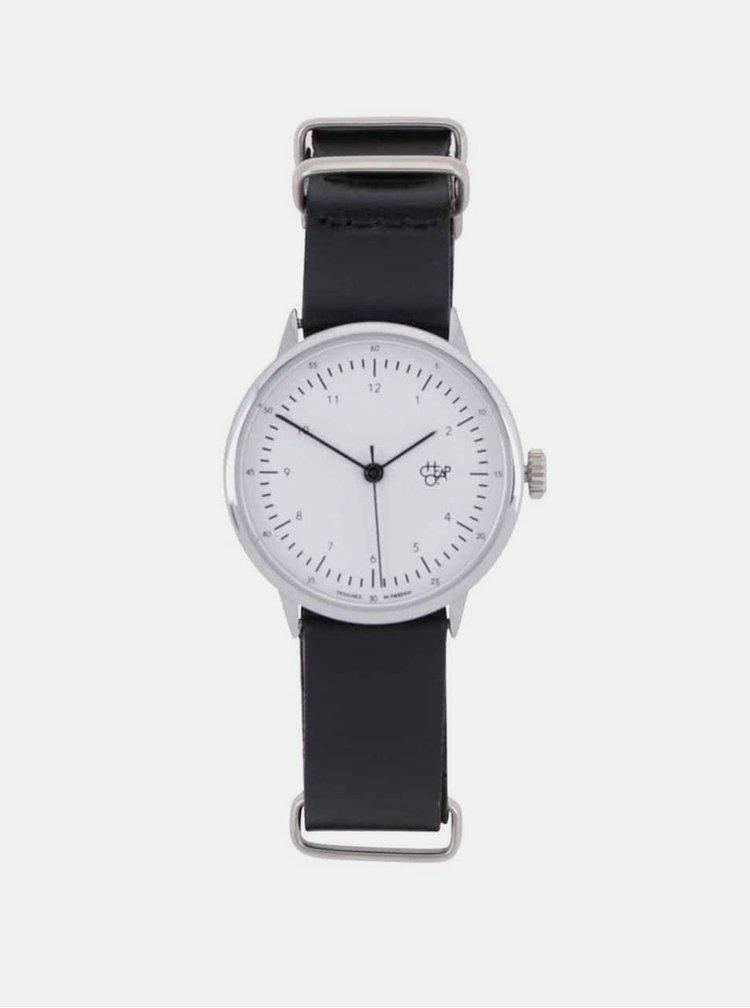 Ceas de dama argintiu cu curea neagra din piele CHPO Harold Mini