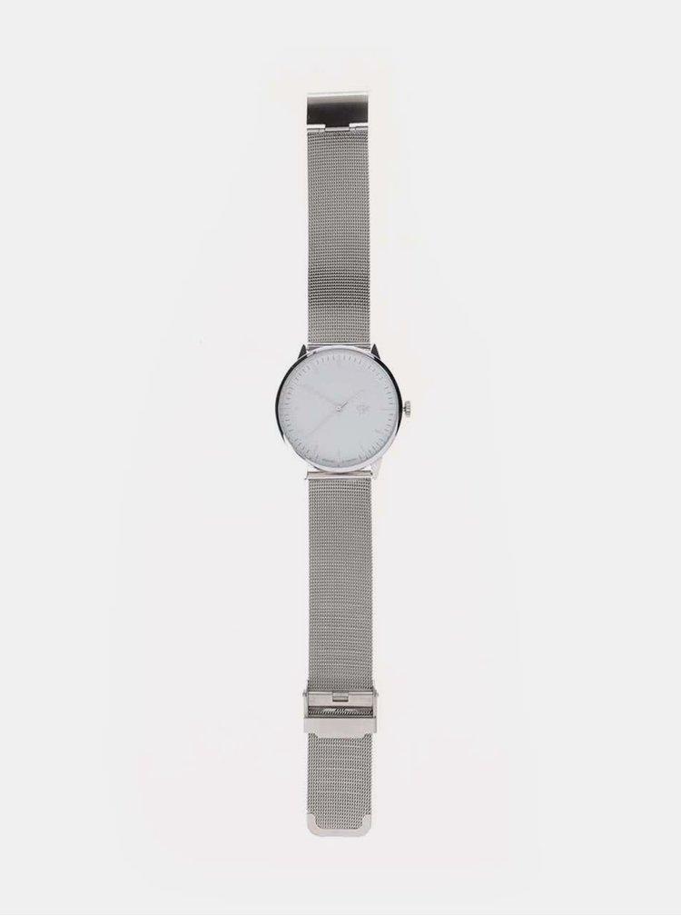 Ceas cu curea argintie din otel inoxidabil CHPO Nando Silver