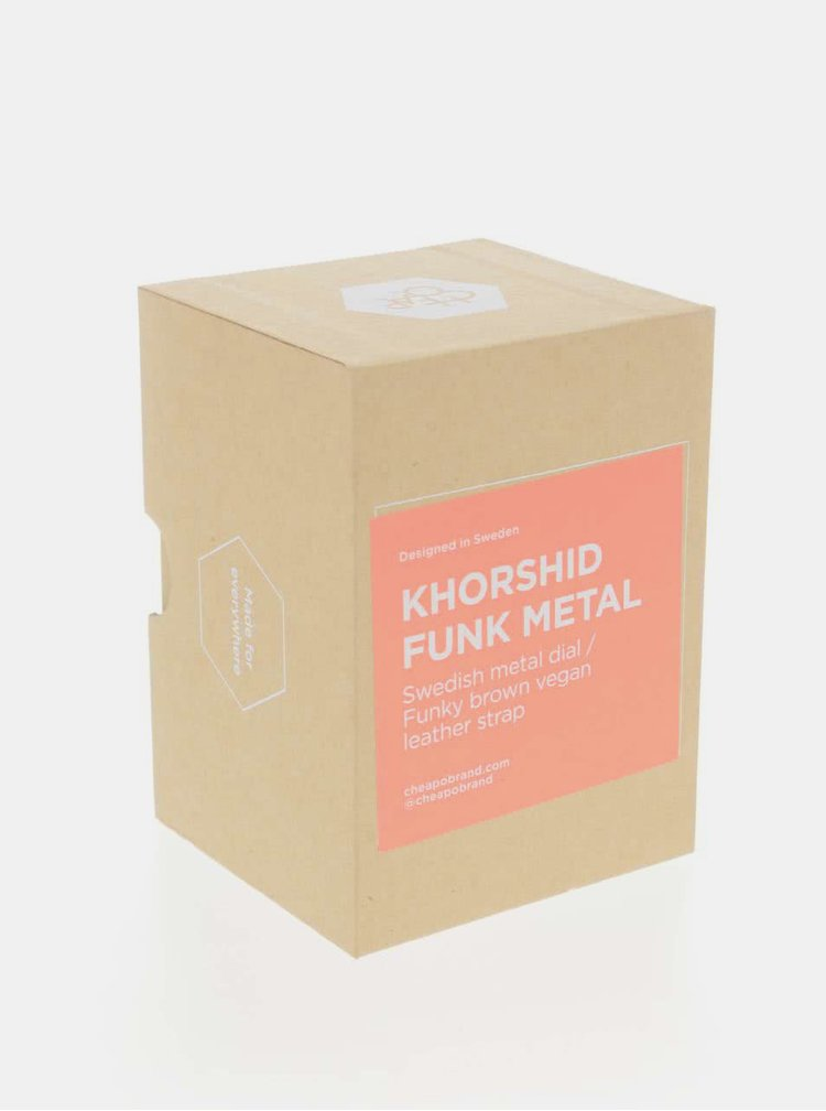 Hodinky se světle hnědým páskem z veganské kůže CHPO Khorshid Funk