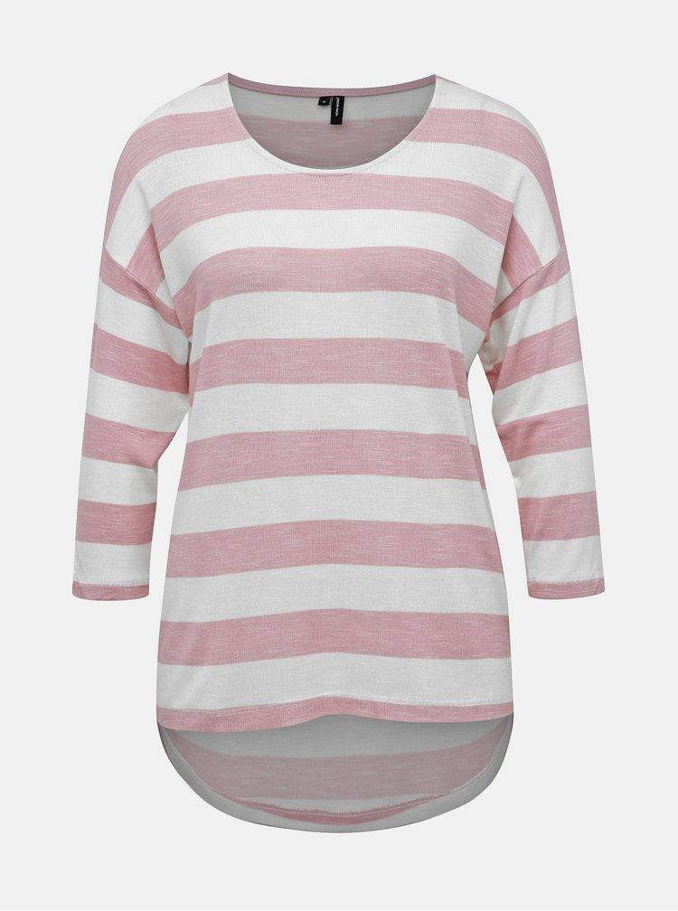 Tricou crem-roz in dungi VERO MODA Wide