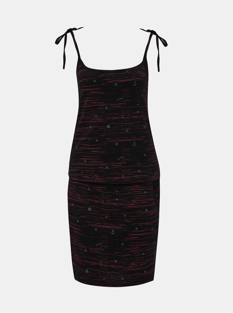 Čierne vzorované šaty na ramienka LOAP Bama