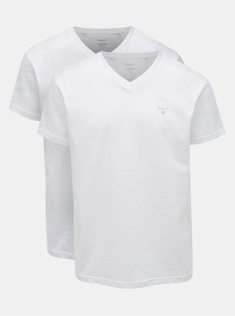Súprava dvoch bielych basic tričiek s véčkovým výstrihom GANT