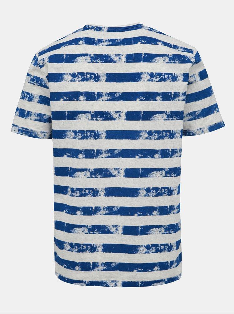 Šedo-modré pruhované tričko ONLY & SONS Patrik