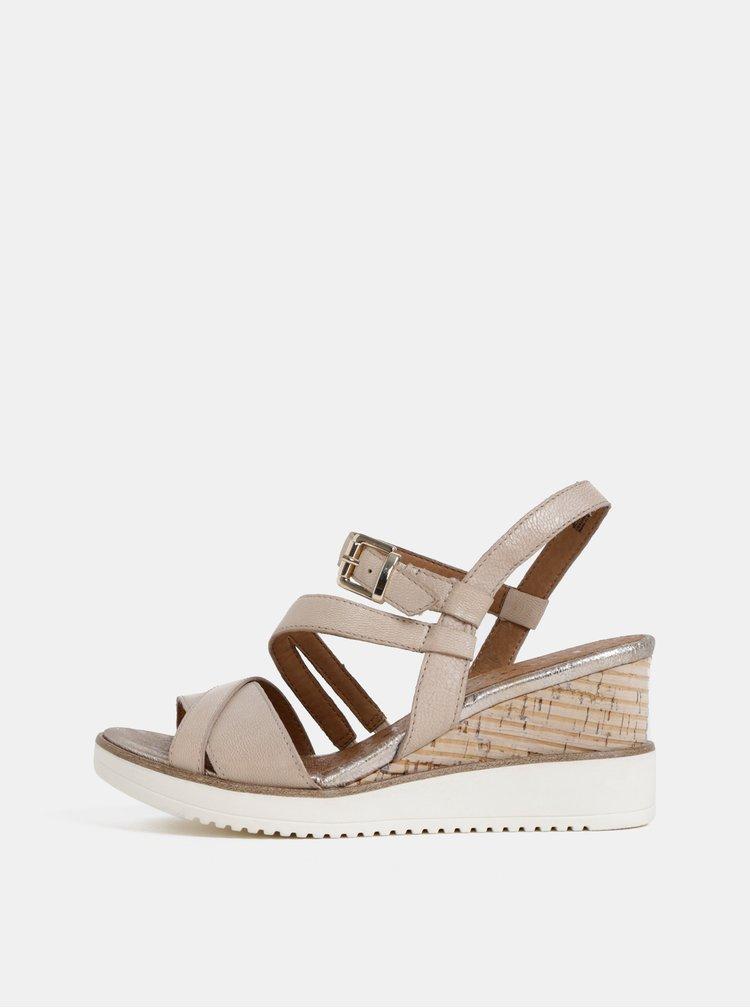 Béžové kožené sandálky na plnom podpätku Tamaris