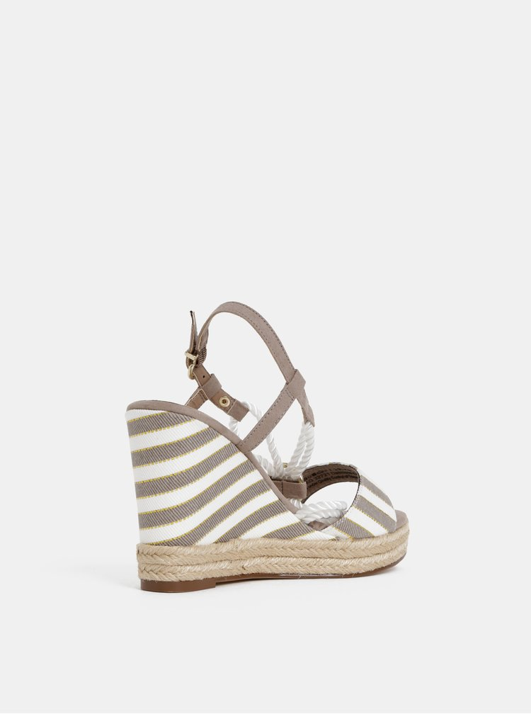 Bílo-hnědé sandálky na klínku Tamaris