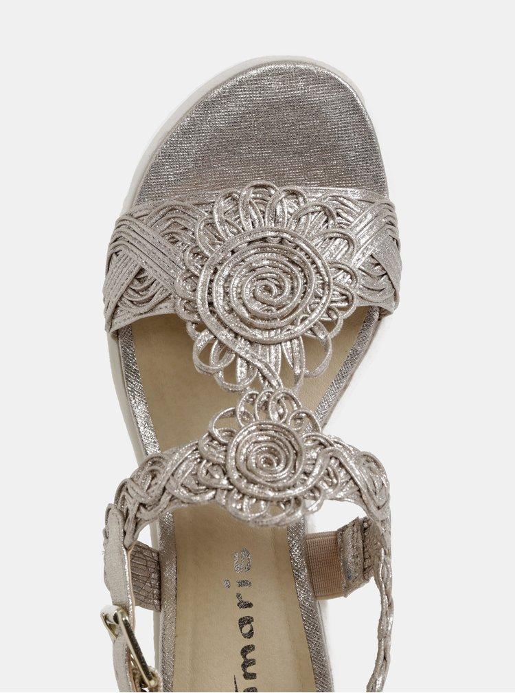 Sandály ve zlaté barvě na platformě Tamaris
