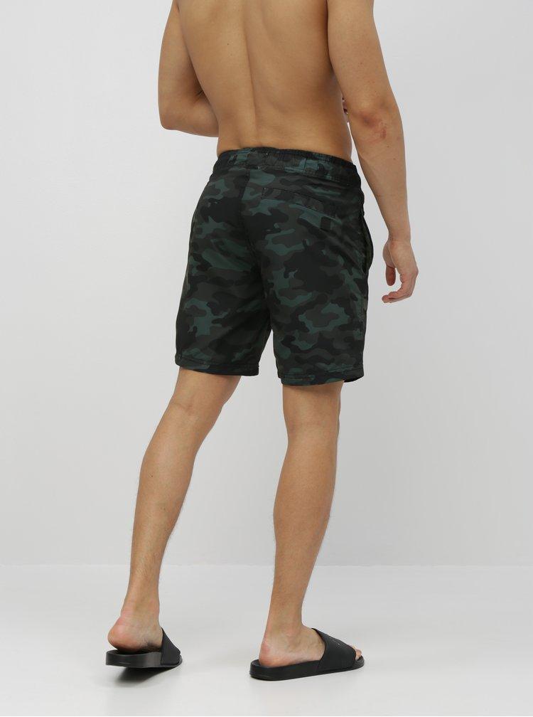 Tmavě zelené maskáčové plavky Blend