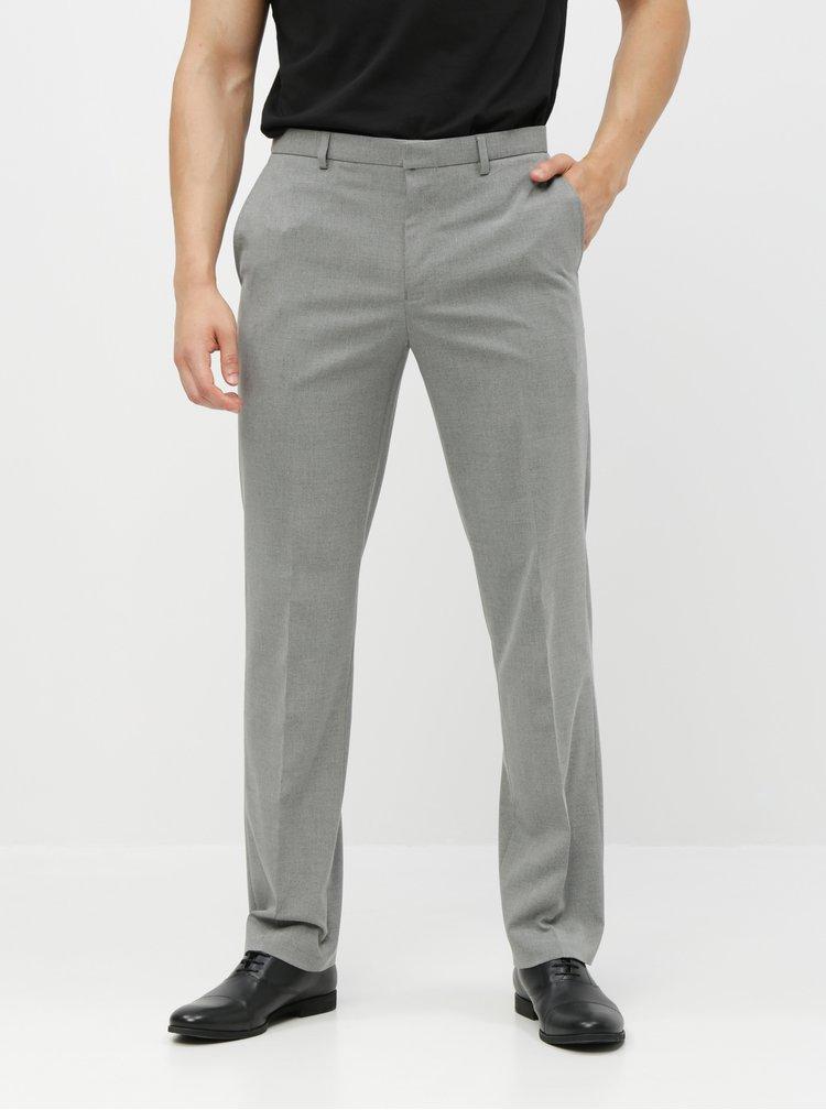 Šedé oblekové tailored fit kalhoty Burton Menswear London