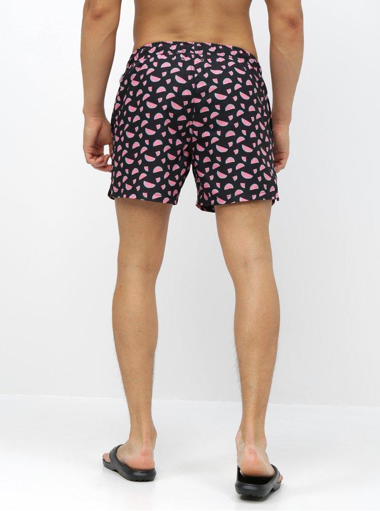 Černé pánské vzorované plavky Happy Socks