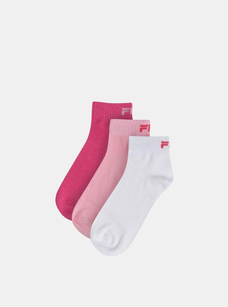 Sada troch párov dámskych kotníkových ponožiek v rúžovej a bielej farbe  FILA