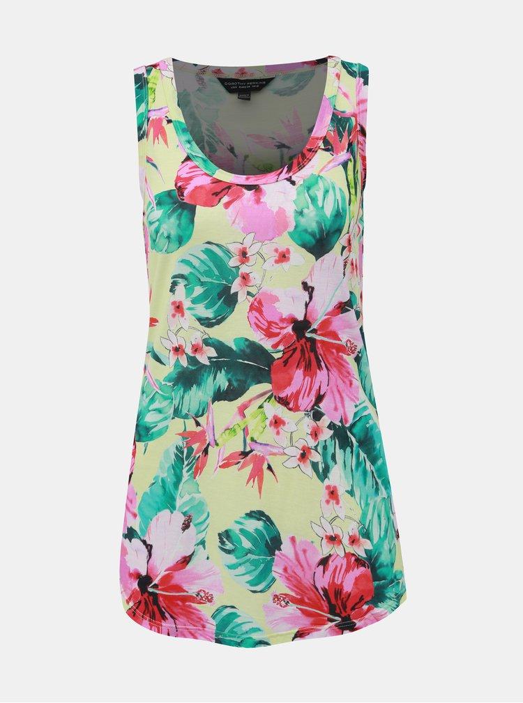 Růžovo-zelené květované tílko Dorothy Perkins