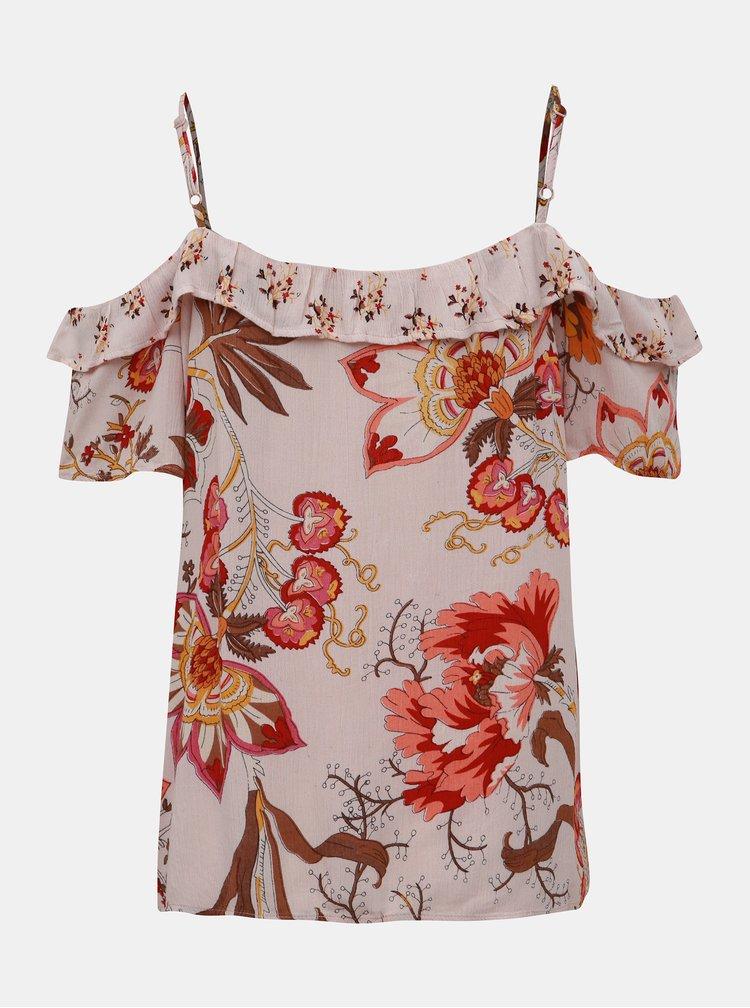 Světle růžový květovaný top s odhalenými rameny Dorothy Perkins