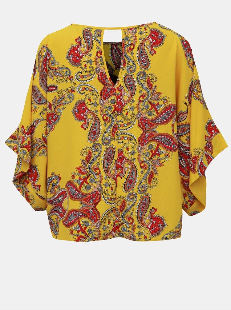 Žlutá květovaná halenka s průstřihy na rukávech Dorothy Perkins