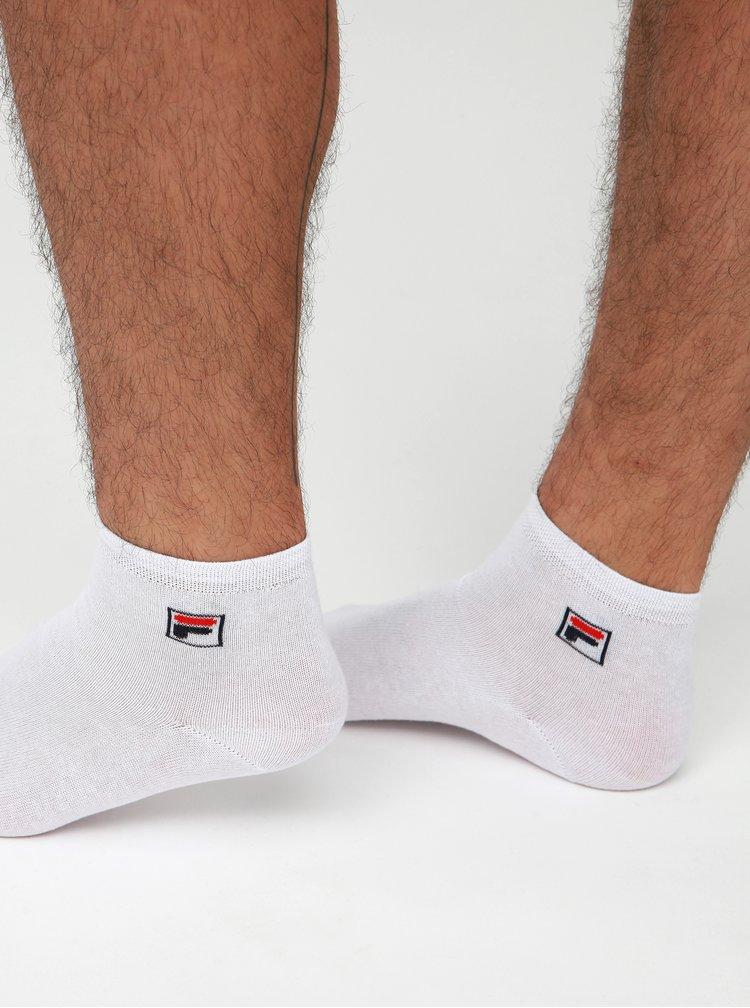 Sada tří párů bílých kotníkových ponožek FILA